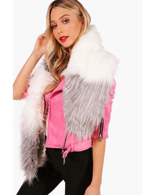Boohoo | Gray Leah Colour Block Faux Fur Scarf | Lyst