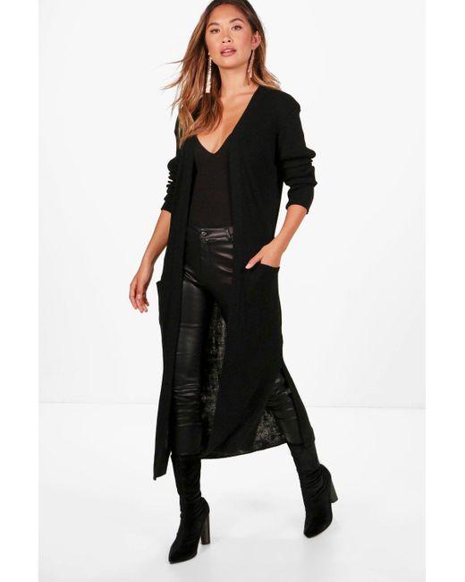 Boohoo   Black Amanda Half Rib Sleeve Maxi Cardigan   Lyst