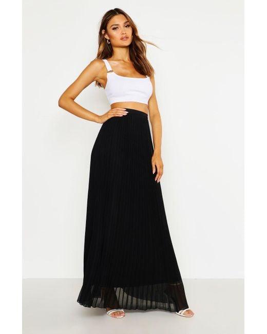 Boohoo Black Womens Chiffon Pleated Maxi Skirt