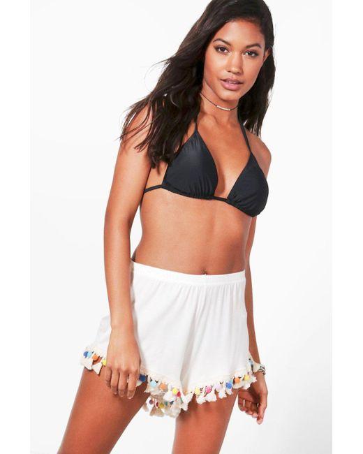 Boohoo | White Leah Pom Pom Tassel Trim Beach Shorts | Lyst