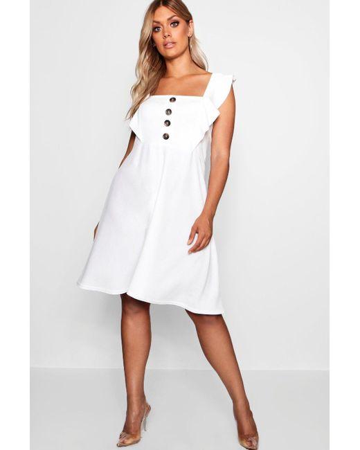 5a85126281e8d Boohoo - White Plus Horn Button Detail Ruffle Skater Dress - Lyst ...