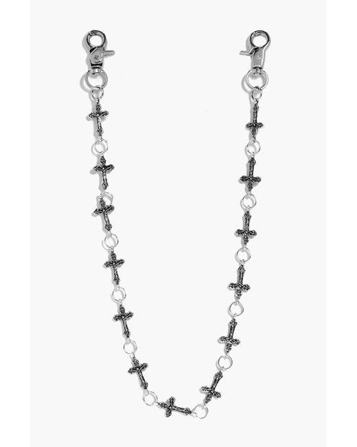 Boohoo   Metallic Steph Cross Detail Jean Key Chain   Lyst