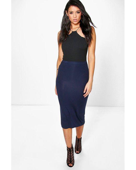 5fae281aeda Boohoo - Blue Basic Midi Jersey Tube Skirt - Lyst ...