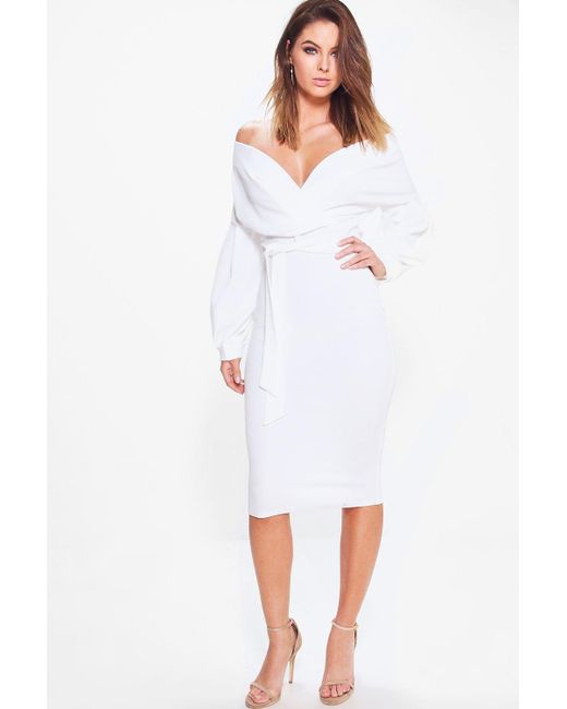 57f83f8a95090 Boohoo - White Off The Shoulder Wrap Midi Bodycon Dress - Lyst ...
