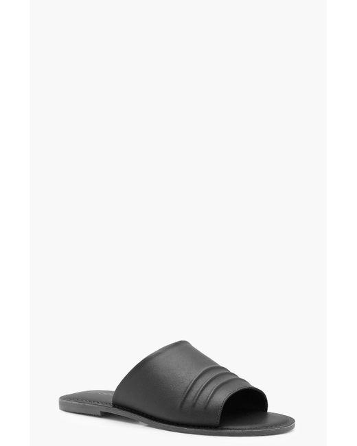 Boohoo - Black Matilda Wide Fit Ruched Leather Slider - Lyst