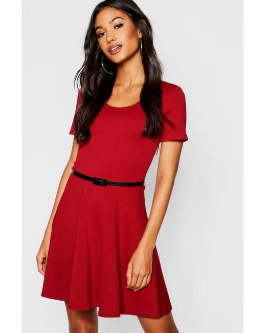 Boohoo - Red Short Sleeve Belted Skater Dress - Lyst ... 9f7e98dd9