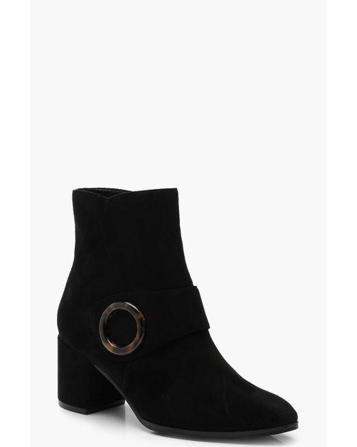 Boohoo - Black Wide Fit Tortoise Shell Trim Shoe Boots - Lyst