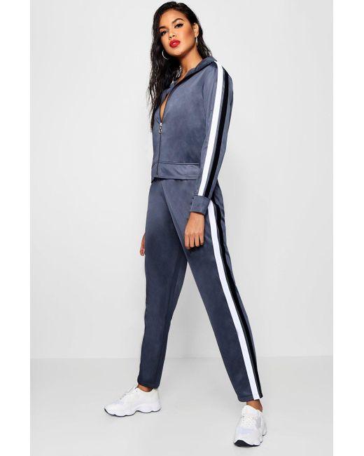 Boohoo - Blue Contrast Stripe Panel Track Pants - Lyst ... 65afe3529