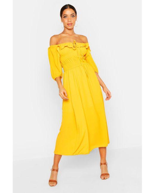 Boohoo Yellow Off Shoulder Smocked Waist Maxi Dress