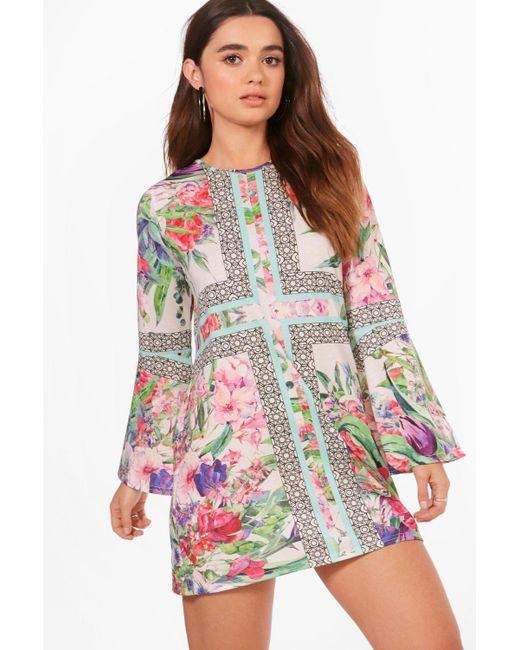 Boohoo | Multicolor Petite Georgie Border Print Bell Sleeve Shift Dress | Lyst