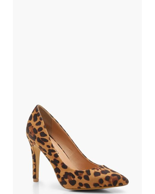 467f536099c3 Boohoo Extra Wide Fit Leopard Pointed Court Shoes in Brown - Save 8 ...