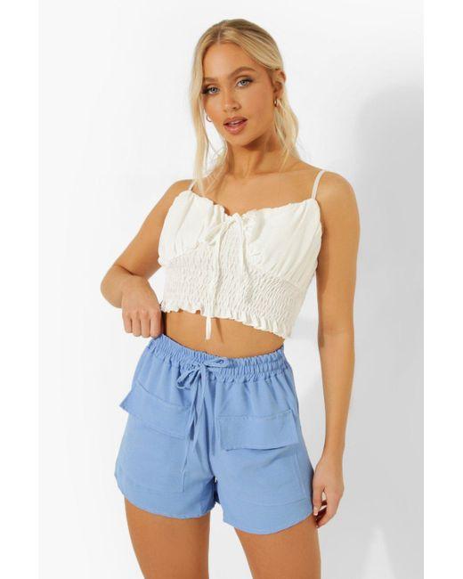 Linen Drawstring Pocket Shorts Boohoo de color Blue