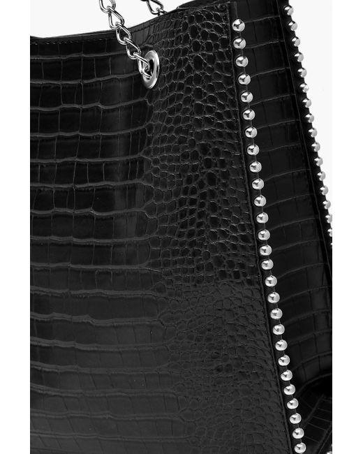 Borsa tote Premium con perline in metallo e PU effetto coccodrillo di Boohoo in Black