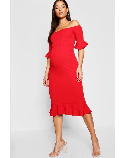 952b3ed01ce5d Boohoo - Red Maternity Bardot Frill Hem Midi Dress - Lyst ...