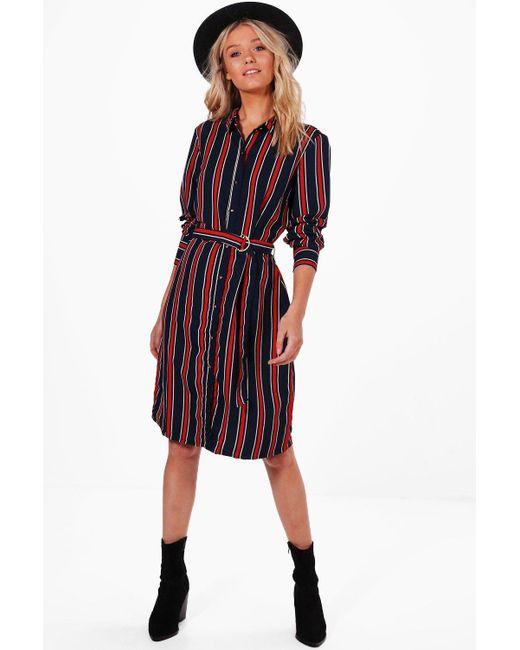Boohoo   Blue Tilly Stripe Buckle Shirt Dress   Lyst