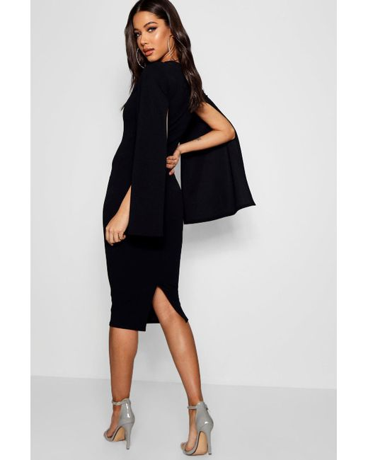 f60e62640e6 Lyst - Boohoo Cape Sleeve Bodycon Midi Dress in Black