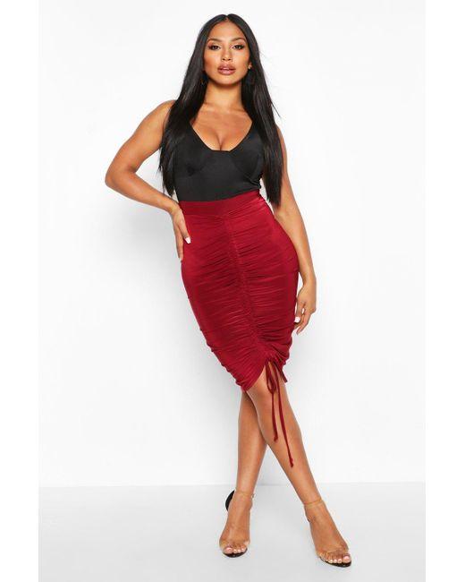 Boohoo Red Ruched Drawstring Midi Skirt