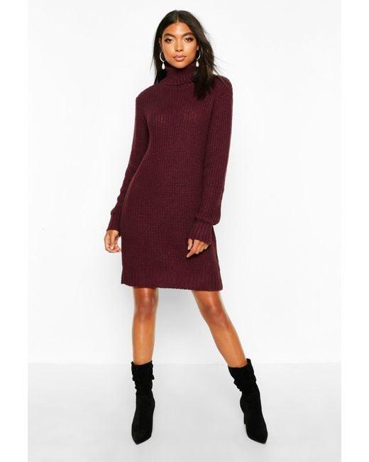 Boohoo Red Womens Tall Soft Knit Roll Neck Sweater Dress