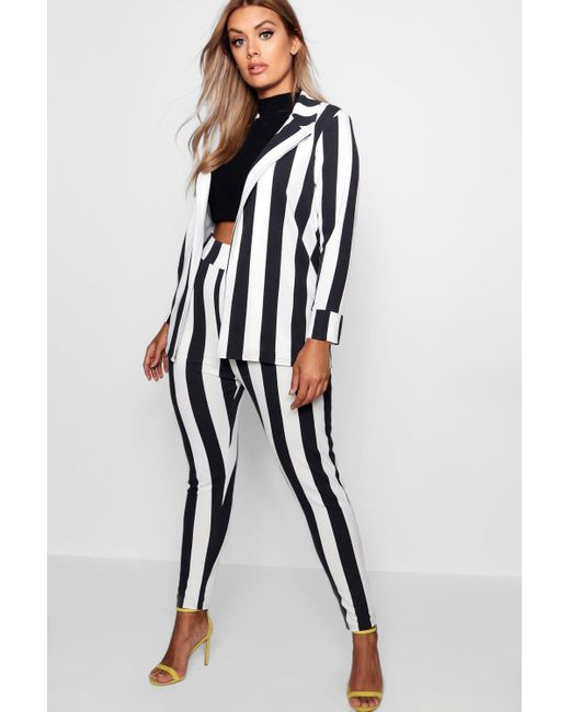 Boohoo Black Womens Plus Striped Suit Two-piece