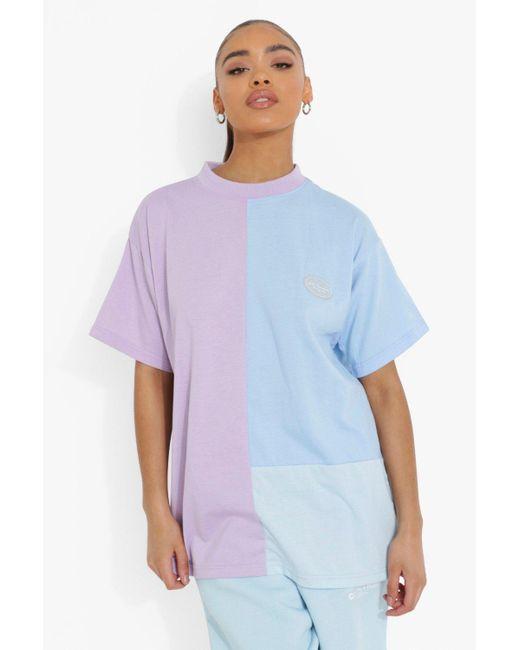 Colour Block T-Shirt Boohoo de color Purple