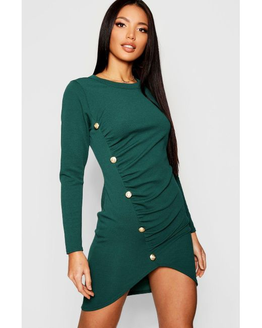 744a8411be64d Boohoo - Green Rouched Gold Button Bodycon Dress - Lyst ...