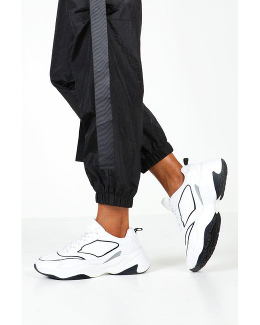 Boohoo White Contrast Sole Chunky Sneakers With Reflective Strip