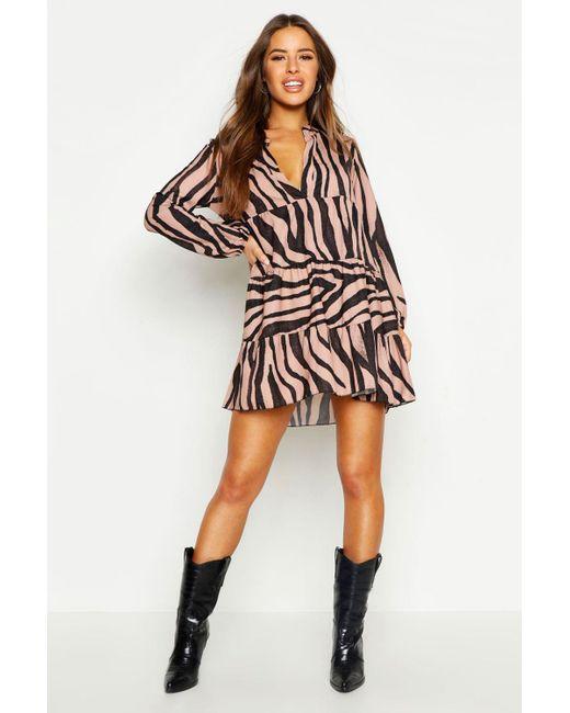 e4814a5399ce6 Boohoo - Multicolor Petite Tiger Print Smock Dress - Lyst ...