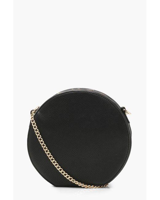 Boohoo - Black Erin Structured Pu Round Bag - Lyst