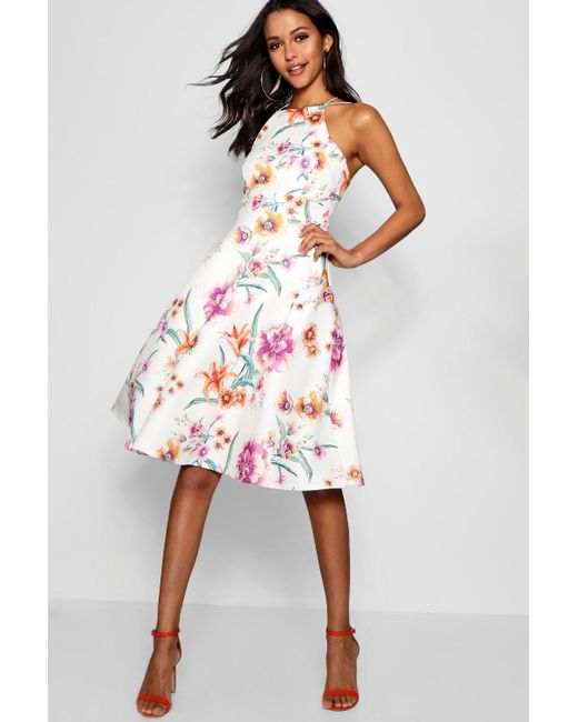 Boohoo - White Floral Strappy Midi Skater Dress - Lyst ... f185b1c88