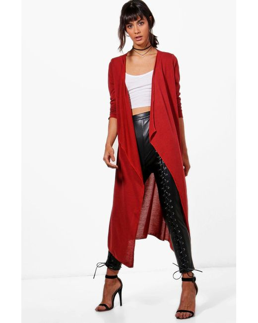 Boohoo Jade Waterfall Maxi Cardigan in Red | Lyst