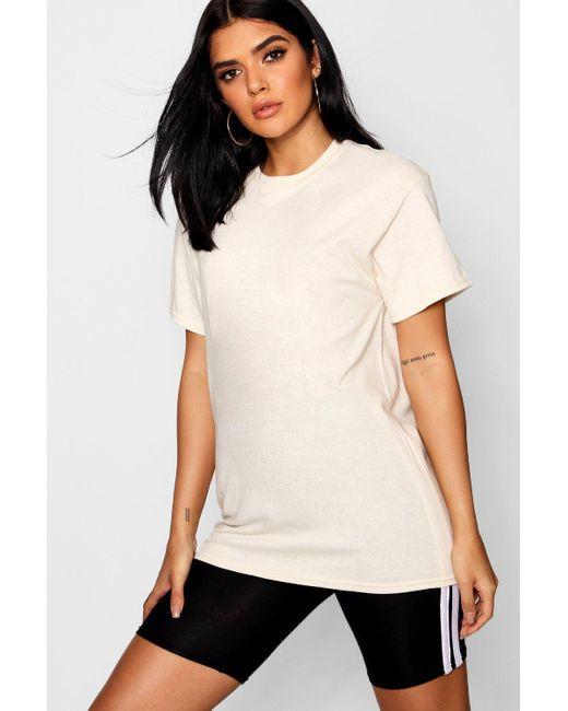Boohoo Natural Basic Oversized Boyfriend T-shirt