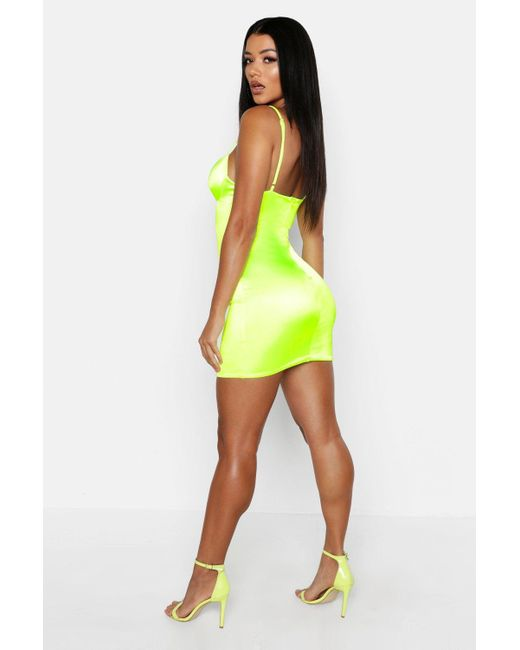 1a6ffdfcf4c3 ... Boohoo - White Satin Cut Out Detail Cupped Bodycon Dress - Lyst