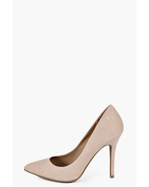 Boohoo | Natural Mia Pointed Court Heels | Lyst