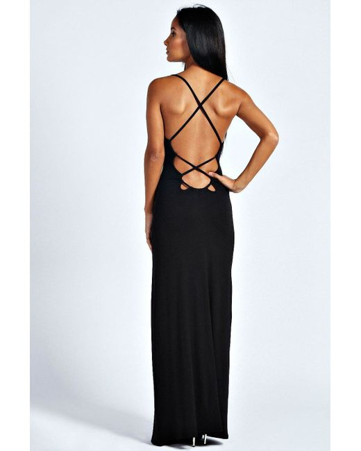 Boohoo | Black Tilly Strappy Back Detail Maxi Dress | Lyst