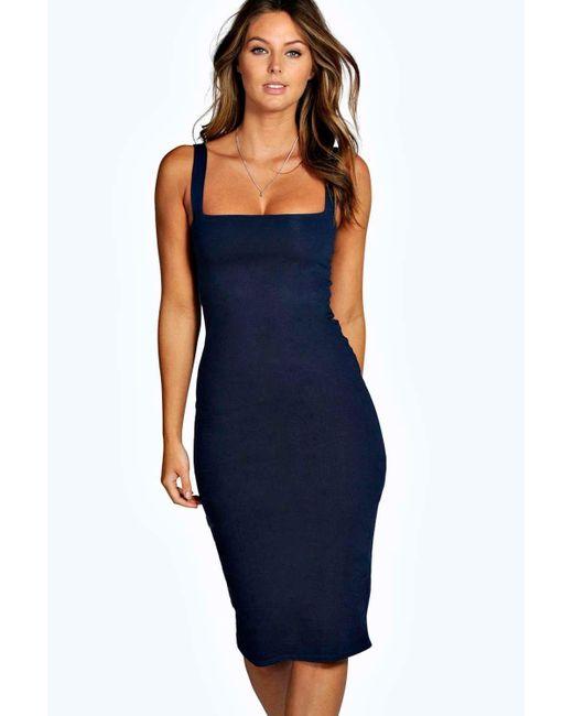 Boohoo | Blue Jen Square Neck Bodycon Midi Dress | Lyst