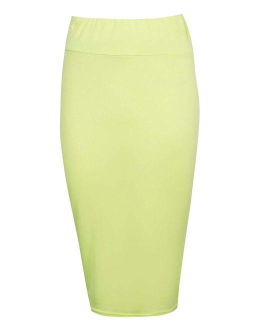 boohoo maddie basic jersey midi skirt in green lyst