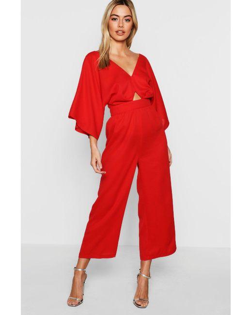 c28c9ef0a4 Boohoo - Red Petite Kimono Sleeve Culotte Jumpsuit - Lyst ...