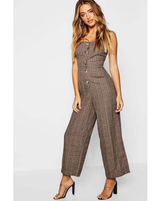 Boohoo - Brown Check Button Pinafore Jumpsuit - Lyst