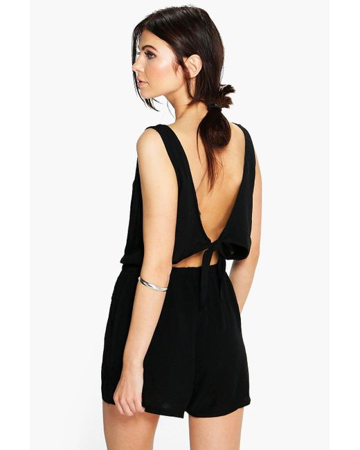 Boohoo | Black Helen Tie Back Relaxed Fit Playsuit | Lyst