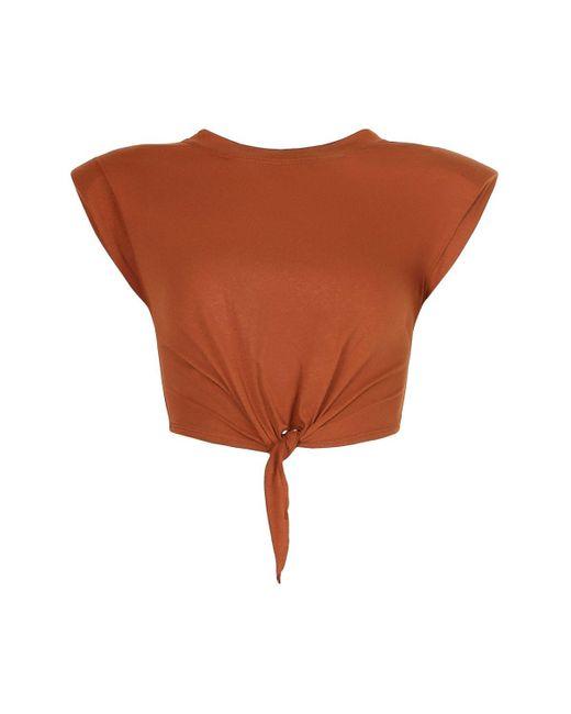 Boohoo Brown Padded Shoulder Tie Front Crop Tee