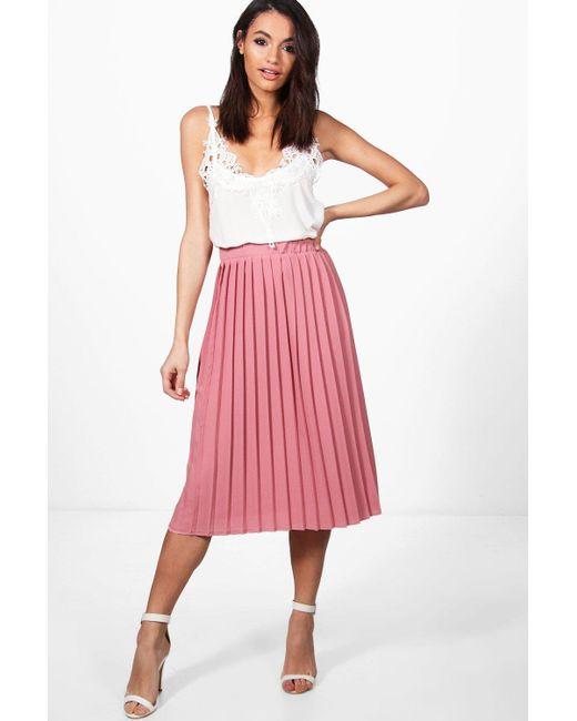 553e102f8 Boohoo Crepe Pleated Midi Skirt in Pink - Save 10% - Lyst