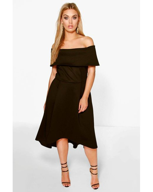 Boohoo | Black Plus Elizabeth Double Layer Midi Dress | Lyst