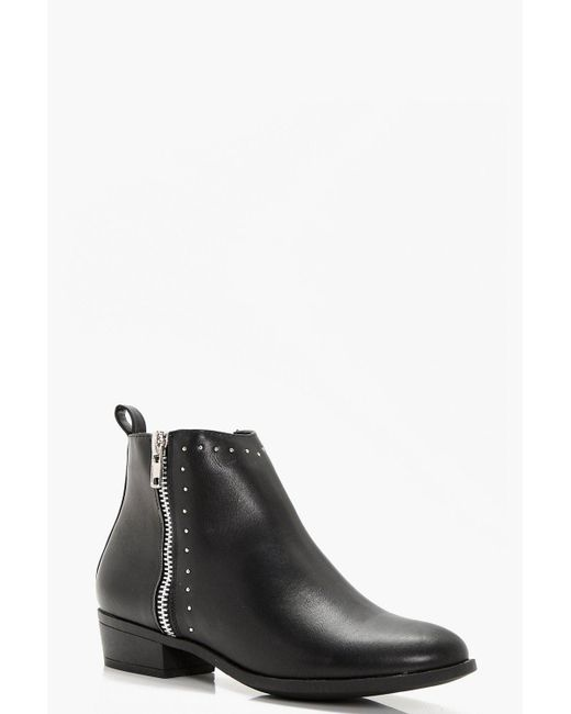 Boohoo | Black Anna Wide Fit Pin Stud And Zip Ankle Boot | Lyst