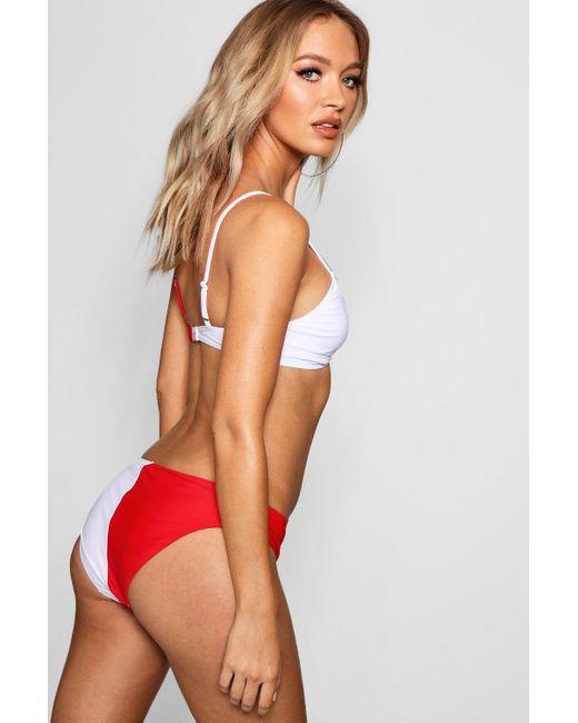 e9305e2d0a4ca ... Boohoo - Red Usa Twist Triangle High Leg Bikini - Lyst ...