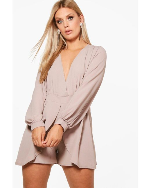 Boohoo Gray Plus Tie Sleeve Wrap Front Playsuit