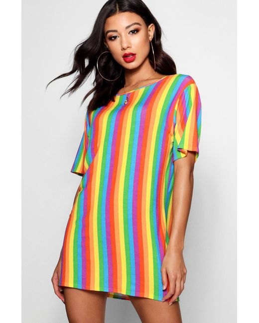 Boohoo - Multicolor Petite Shelly Rainbow T-shirt Dress - Lyst
