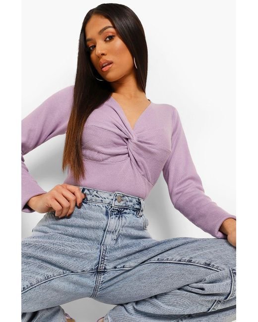 Boohoo Purple Petite Knot Front Knitted Top