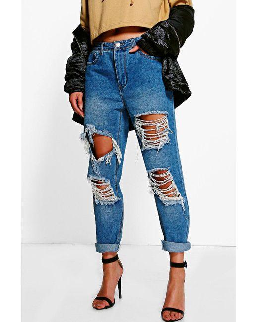 fd8ecdb16db Boohoo - Blue Distressed Low Rise Boyfriend Jeans - Lyst ...
