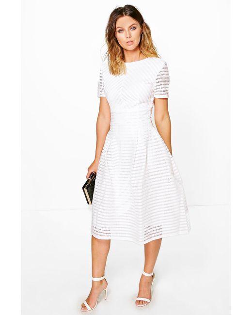 31bb6f2aef2 Boohoo - White Boutique Full Skirted Prom Midi Dress - Lyst ...