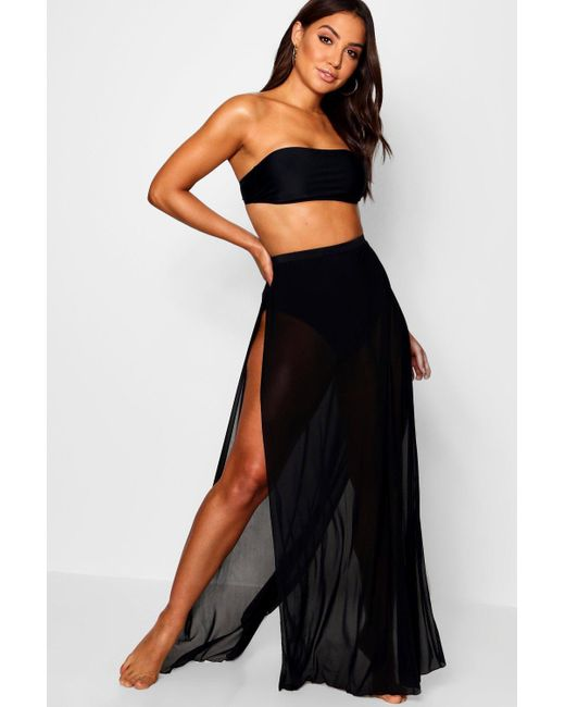 Boohoo Womens Bandeau & Skirt 2 Piece Swim Set - Black - 4